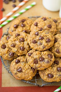 Pumpkin-Oat Chocolate Chip Cookies - Cooking Classy