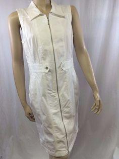Peck & Peck Weekend Dress Size 8 White Sleeveless Versatile Summer New Casual #PeckPeck #Sheath #Casual
