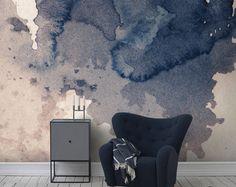 Ink splatter Marine muur muurschildering, Self adhesive verwisselbare behang, Vintage textuur, Splash kunst aan de muur, Vintage art, aquarel muur muurschildering #15