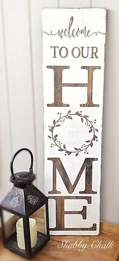 Welcome family and friends this spring/summer to your home with this beautiful porch sign! This Welcome to our Home porch sign is made from pine, stained dark walnut, painted pure white, lightly sanded and sealed for preservation. A saw tooth hanger can be added upon request. Please