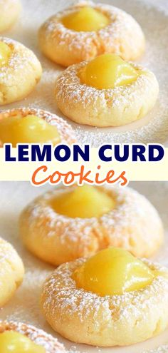 Lemon curd thumbprint cookies Idea The Effective Pictures We Offer You About baking desserts videos A quality picture can tell you many things. You can find the most beautiful pictures that can be pre Potluck Desserts, Cookie Desserts, Cookie Recipes, Delicious Desserts, Dessert Recipes, Yummy Food, Party Desserts, Holiday Desserts, Dinner Recipes
