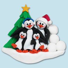 PENGUIN FAMILY of 4 HANDMADE Polymer Clay Personalized Christmas Ornament