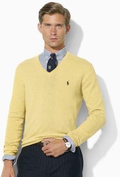 Polo Ralph Lauren Yellow Italian Merino Vneck Sweater