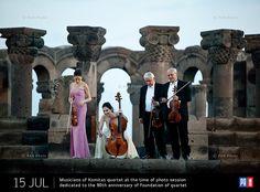 Musicians of Komitas quartet at the time of photo session dedicated to the 90th anniversary of foundation of quartet. Zvartnots, Armavir Province, Armenia