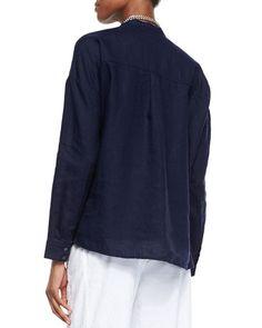 T9RT6 Eileen Fisher Mandarin-Collar Organic Linen Long-Sleeve Top, Midnight, Petite