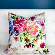 Chinoiserie Pillow Cover Tree Peony Pillow Cover Bird | Etsy Navy Blue Throw Pillows, Turquoise Pillows, Green Pillows, Floral Pillows, Colorful Pillows, Velvet Pillows, Coral Blue, Coral Turquoise, Dark Purple