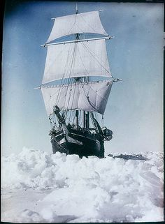 The 'Endurance' under full sail, held up in the Weddell Sea, 1915 / by Frank Hurley from Flickr Commons