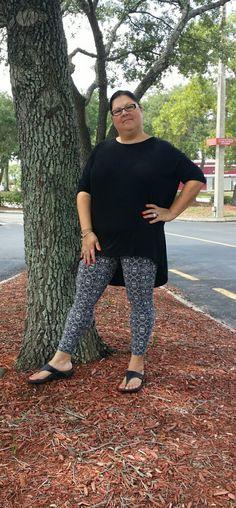 I'm wearing LuLaRoe leggings with a black Irma top