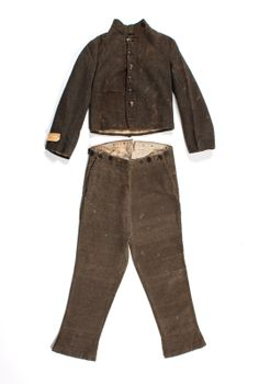 Confederate uniform: Va. cavalry private gray wool jacket and trousers worn by Pvt. Wm. Stephens, 17th Virginia Cavalry Regiment