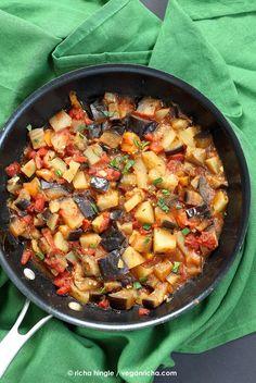 Easy Indian spiced Eggplants and Potatoes. Vegan Aloo Baingan Recipe.I VeganRicha.com