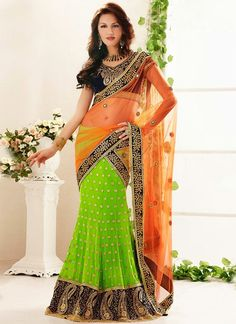 Attractive Lehenga Style Green & Orange Color #Bridal #Saree