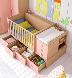 Small spaces: solutions for the nursery Baby Bedroom, Baby Boy Rooms, Baby Room Decor, Nursery Room, Baby Crib Diy, Baby Cribs, Kids Cot, Toddler Bed, Baby Crib Designs