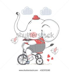 Elephant/hand drawn vector illustration of Cute Elephant Riding a Bicycle/Tricycle/can be used for kid's or baby's shirt design/fashion print design/fashion graphic/t-shirt/kids wear