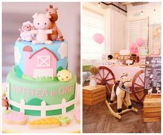 Pink Barnyard Birthday Party Setup via Kara's Party Ideas | karaspartyideas.com
