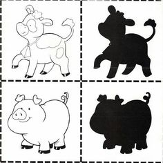 4 Shapes For Kids, Math For Kids, Animals For Kids, Farm Animals, Farm Lessons, Kindergarten, Farm Animal Crafts, Quiet Book Templates, File Folder Activities