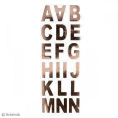 Pegatinas Alfabeto - Cobre - 37 letras - Fotografía n°2 Color Cobre, Company Logo, Calm, Script Alphabet, Stickers, Cards, Festivus, Gold