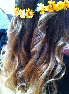 Ombre hair y corona de flores