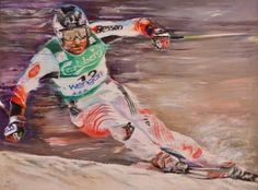 Aan Arif: Sport #4, Oil on Canvas, 130 x 180 cm. Known for his brushstrokes that embody movement and transience, the artist paints a ski athlete in the midst of a dynamic turn, capturing the grace of the subject's body and the delicacy of snow spray in the same frame. In this image, the artist depicts not only the excitement and speed required by the sport, but also the art of representation - creating immaculate portraiture with fluid strokes.