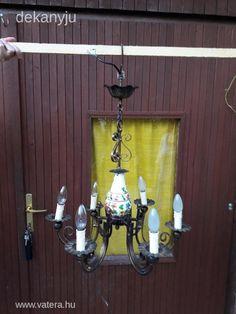 Régi majolika betétes csillár. - 12000 Ft - Nézd meg Te is Vaterán - Antik csillár, mennyezeti lámpa - http://www.vatera.hu/item/view/?cod=2506757198