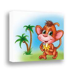 Monkey Decor Jungle Animal Canvas Art Baby by PinwheelCanvasArt