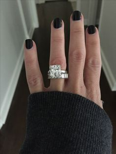 5 carat radiant solitaire and emerald cut eternity band