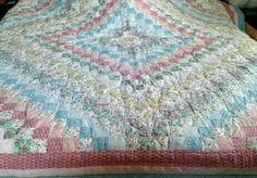 """ARCH QUILTS Hawthorne, NY Vintage Patchwork Squares Multi-color 80"""" x 84"""" ~EUC"""