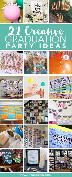 21 Creative Ideas for Your Graduation Party With graduations right around the corner, graduation party planning and open houses are in full swing. I've rounded up some of my favorite creative party ideas for your graduation party, from… Outdoor Graduation Parties, Graduation Party Planning, Graduation Party Themes, Graduation Balloons, College Graduation Parties, Graduation Decorations, Graduation Party Decor, Graduation Invitations, Grad Parties
