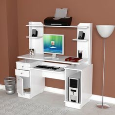 Inval Modern White Computer Workcenter/ Credenza and Hutch - Overstock™ Shopping - Great Deals on Inval America LLC Desks