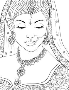 Beautiful Women: Color Beauties From Around The World (Color To Live) (Volume Pencil Drawings Of Girls, Art Drawings Sketches, Elephant Quilt, Free Adult Coloring, Indian Art Paintings, Mandala Drawing, Coloring Book Pages, Abundant Life, Doodles