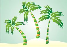 Palm Tree Group Enchanted Sea Stencil Design from Stencil Kingdom
