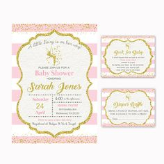 Fairy Baby Shower Invitation Book for Baby Diaper Raffle