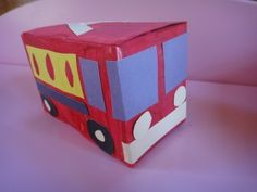 Tea box fire truck (for those that drink tea) Might be able to do it with a sweetener box though...
