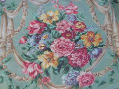 1940s Vtg Floral Bouquet Rayon Not Barkcloth Curtain Drapery Panel Cutter Fabric