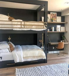 Looking for space-saving furniture ideas for better home organization and storage? From expandable tables to bunk beds, check out these small space living ideas! Bunk Beds For Girls Room, Bunk Rooms, Bunk Beds With Stairs, Kids Bunk Beds, Girls Bedroom, Bed Rails, Master Bedroom, Custom Bunk Beds, Modern Bunk Beds