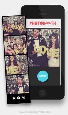 Wedding Party's new photo booth feature for smart phone snaps. It takes 4 photos in a row, which you can then arrange into a photo strip, photo square, or a fun stop motion GIF. It's a nice way to inject a little classic photo strip charm into your modern photo booth. Plus, the photos can then be shared in Wedding Party's private photo stream for all your guests to enjoy: https://www.weddingpartyapp.com/