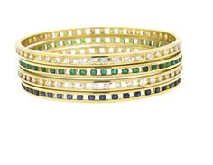 18k Gold Diamond Sapphire Emerald Bangle Bracelet Set of 4 Featured in our upcoming auction on November 2, 2015 11:00AM EST!