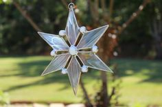 Stained Glass Snowflake Suncatcher by IdleHourStainedGlass