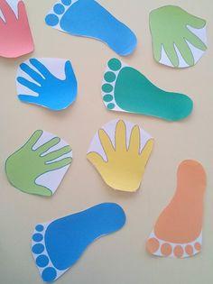 Treino de reconhecimento da direita/esquerda - Jogo das Mãos e Pés: Colar as mãos na parede e os pés no chão. Ouvir música, quando a música parar seguir a instrução dada. Por exemplo, se for mão direita a criança deve colocar a sua mão direita numa das mãos que seja a direita.