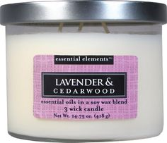 Candle-lite Essential Elements 14-3/4-Ounce 3 Wick Candle with Soy Wax, Lavender and Cedarwood ** Visit the image link more details.