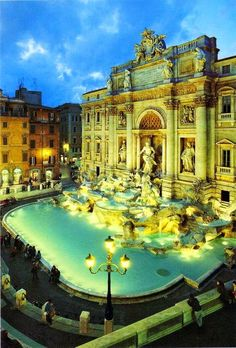 Fontana Di Trevi, Rome, Italy: Trevi Fountain in Rome. I LOVE this place! I bought a wool sweater from a little store right across the street and then threw a coin in the fountain, hoping to one day return. I love Rome! Places Around The World, Oh The Places You'll Go, Places To Travel, Places To Visit, Around The Worlds, Travel Things, Wonderful Places, Beautiful Places, Trevi Fountain Rome
