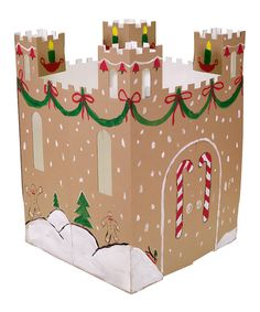 this easy-to-assemble cardboard castle  it boasts safe wave-cut edges with only two pieces, so it assembles in fewer than five minutes. This clever castle's reversible design features windows, doors and terrific turrets that come ready to decorate inside and out! $24.99
