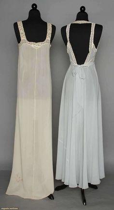 Negligee Sets (image 3)   1930s   silk chiffon, rosaline lace   Augusta Auctions   April 9, 2014/Lot 66