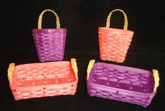 Hand crafted by Florine Hills, this is the 4th in our Frequent Buyer Basket Series.  Choice of two!  Our Miniature Wall Basket or our Miniature Tray Basket in either Coral or Eggplant!  NOT AVAILABLE FOR PURCHASE!  ONE FREE WITH PURCHASE OF ANY 12  MINIATURE BASKETS MADE BY FLO FROM THE HEART, AVAILABLE ONLY AT MILLER'S EMPORIUM ASK FOR YOUR FREQUENT BUYER PUNCH CARD AT CHECKOUT Wall Basket, Baskets On Wall, Eggplant, Straw Bag, Punch, Tray, Miniatures, Heart, Crafts