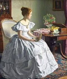 View Contemplation by Leonard Campbell Taylor on artnet. Browse upcoming and past auction lots by Leonard Campbell Taylor. Victorian Paintings, Victorian Art, Victorian Fashion, Vintage Fashion, Victorian Women, Classic Paintings, Old Paintings, Beautiful Paintings, Portrait Paintings
