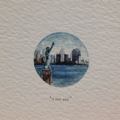 Day 128 : New York, New York, for Gina. 23 x 23 mm. #365paintingsforants #watercolour #miniature #newyork (at Vredehoek)