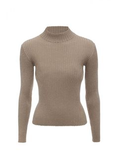 Caramel Lurex Rib Rosie Jumper - Knitwear - Women