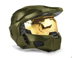 """Halo Helmet  This helmet is modeled after """"authentic"""" Spartan Mjolnir Mark VI head gear. This Halo Helmet is made out of """"high impact"""" polystyrene, similar to the assembly of a motorcycle helmet. (via Kotaku)"""