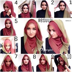 We will show you how to wear different hijab styles through step by step tutoria. We will show you how to wear different hijab styles through step by step tutorials. Tutorial Hijab Segitiga, Simple Hijab Tutorial, Turban Hijab, How To Wear Hijab, How To Wear Scarves, Hijab 2017, Hijab Stile, Stylish Hijab, Modele Hijab