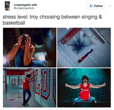 51 Pics Guaranteed To Make High School Musical Fans Laugh - School Funny - School Funny meme - - Stress level: Troy choosing between singing and basketball. The post 51 Pics Guaranteed To Make High School Musical Fans Laugh appeared first on Gag Dad. Disney Channel, Zack E Cody, Funny Quotes, Funny Memes, Funniest Memes, What Team, Nickelodeon, Film Serie, The Villain