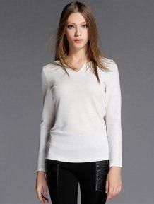 White V Neck Women's Fashion Long T-Shirts